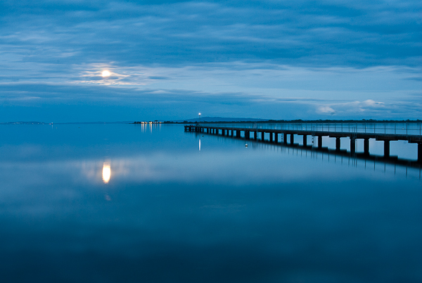 Moonrise over bay