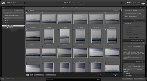 Lightroom import