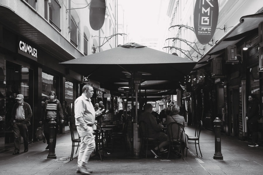 Pedestrians at Degraves Street in Melbourne CBD