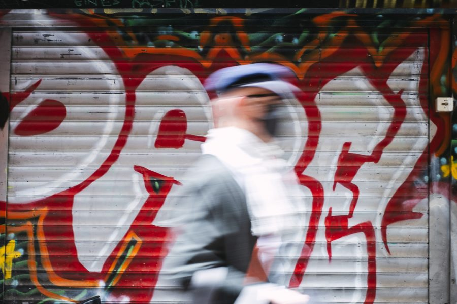 Blurred motion of pedestrian at Centre Place in Melbourne CBD